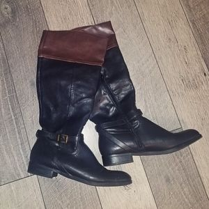 Merona black and brown riding style boots sz 10